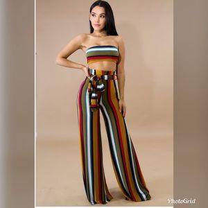 Striped flowy bralette and pants set